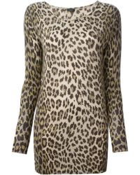 Joseph Leopard Print Long Sweater - Lyst