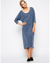 Selected Fara Midi Dress in Jersey Denim Wash - Lyst