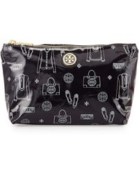 Tory Burch Slouchy Print Coated Cosmetic Case - Lyst