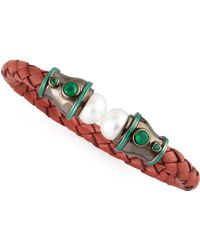 M.c.l  Matthew Campbell Laurenza - Pearlcapped Woven Leather Cuff Redmint - Lyst