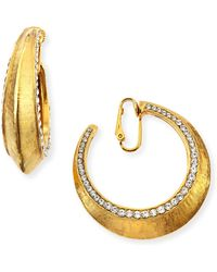 Jose & Maria Barrera Gold-Plated Clip-On Hoop Earrings With Crystals - Lyst