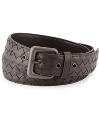 Bottega Veneta Mens Intrecciato Leather Belt - Lyst