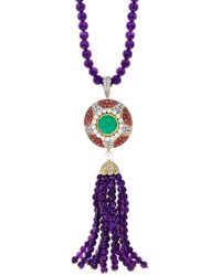 Abellan New York - A One Of A Kind Art Deco-Inspired Diamond, Chrysoprase And Amethyst Tassel Pendant Necklace - Lyst
