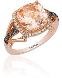 Le Vian - Chocolatier Peach Morganite, Vanilla And Chocolate Diamond 14k Strawberry Gold Ring - Lyst