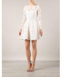 Oscar de la Renta Floral Lace Belted Dress - Lyst