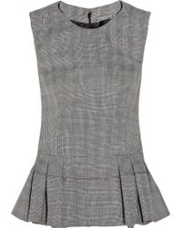 Alexander McQueen Prince Of Wales Check Wool-Blend Peplum Top - Lyst