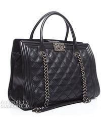 Chanel Pre-Owned Lambskin Boy Shopping Tote Bag black - Lyst