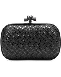 Bottega Veneta Woven Metallic Knot Clutch Bag Black - Lyst