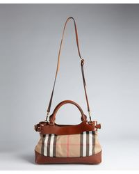 Burberry Dark Tan Black and White Check Canvas and Leather Shoulder Bag - Lyst