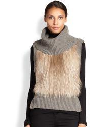 Yves Salomon Fox Fur-Trimmed Turtleneck Vest - Lyst