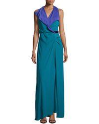 Halston Heritage Surplice Contrast Crepe Gown - Lyst