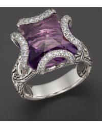 John Hardy Batu Classic Chain Sterling Silver Medium Braided Ring with Amethyst and Diamonds - Lyst