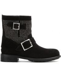 Jimmy Choo Youth Studded Suede Biker Boots - Lyst