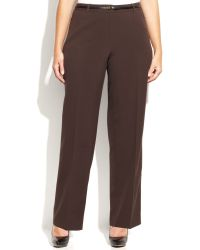 Calvin Klein Plus Size Straight-fit Belted Trousers - Lyst