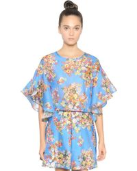 Gaowei+Xinzhan - Floral Printed Viscose Crepe Top - Lyst