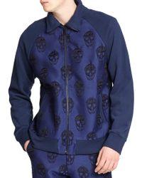 Alexander McQueen Skull Print Jacquard Jacket blue - Lyst