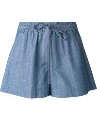 3.1 Phillip Lim Chambray Drawstring Shorts blue - Lyst