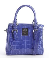 Giorgio Armani Blue Embossed Croc Leather Convertible Top Handle Bag - Lyst
