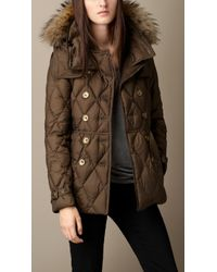 Burberry Downfilled Puffer Coat with Fur Trim - Lyst