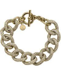 Michael Kors Gold-tone Pavé Link Bracelet - Lyst