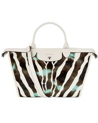 Longchamp Hã©Ritage Luxe Large Calf Hair Tote white - Lyst
