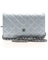 Chanel Pre-Owned Ice Blue Patent Woc Wallet On Chain blue - Lyst