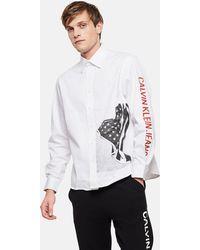 d212eee6e2f Calvin Klein - Relaxed Flag Print Shirt - Lyst