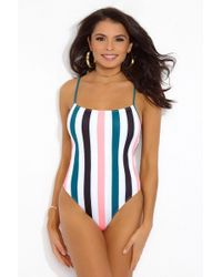 Solid & Striped - The Chelsea One Piece Swimsuit - Black/jade/coral Stripe - Lyst