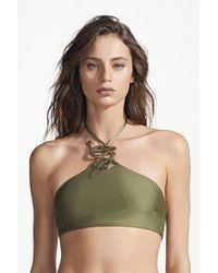 Rosa Cha - Corina High Neck Bikini Top - Snake Green - Lyst