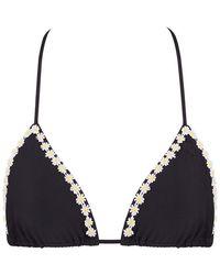 Kovey - Slider Triangle Bikini Top - Black Daisy - Lyst