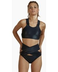 Agua de Coco - Roterio Criss Cross Back Bikini Top - Metallic Black - Lyst