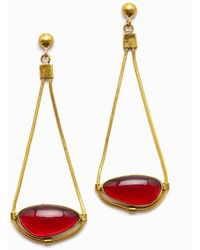 Lena Bernard - Najila Red Quartz Pendant Gold Drop Earrings - Lyst