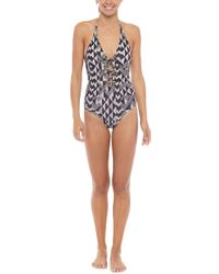 Amuse Society - Elese One Piece Swimsuit - Black Sands - Lyst