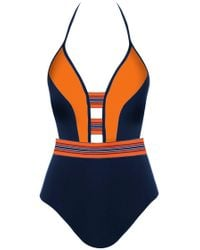 Jets by Jessika Allen - Plunge One Piece Swimsuit - Ink/valencia - Lyst