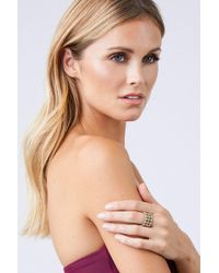 Lena Bernard - Jillian Pearl & Crystal Gold Cuff Ring - Lyst