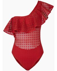 Evarae - Irene One Shoulder Laser One Piece Swimsuit - Red Matte - Lyst