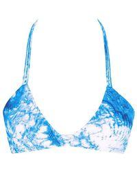 Mikoh Swimwear - Namotu Stringy Halter Bikini Top - Whitewater Fiji Blue Tie Dye Print - Lyst