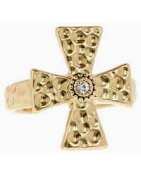 Luv Aj - The Hammered Cross Signet Ring - Gold - Lyst