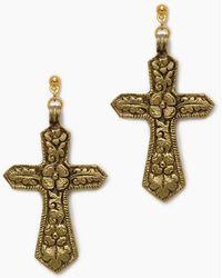 Vanessa Mooney - The Saint Angelo Cross Earrings - Gold - Lyst