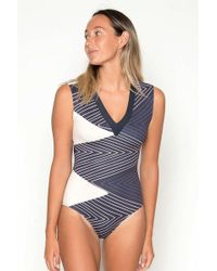 e54a43d5e17 Seea Hermosa Long Sleeve High Neck Color Blocked One Piece Swimsuit -  Marguerite Print in Blue - Lyst