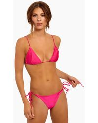 S.I.E SWIM - Taylor Tie Back Triangle Bikini Top - Hibiscus Metallic - Lyst
