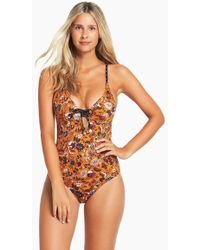 Tigerlily - Paradis Elle One Piece Swimsuit - Mustard Floral Paisley - Lyst