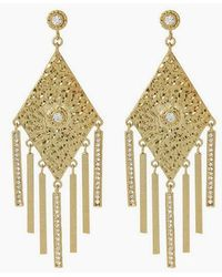 Luv Aj - The Hammered Triangle Fringe Drop Earrings - Gold - Lyst