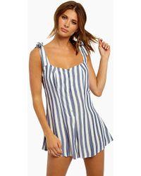 Beach Riot - Zoey Shoulder Tie Romper - Blue/white Stripe - Lyst