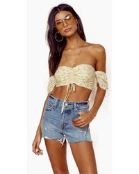 Blue Life - Tiara Tie Front Top - Oopsie Daisy-mellow Yellow - Lyst