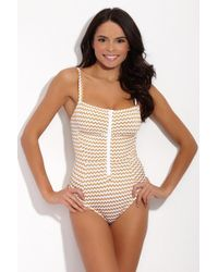Lonely - Jamie Zippered Square Neck One Piece Swimsuit - Gold Zigzag - Lyst