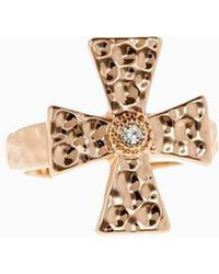 Luv Aj - The Hammered Cross Signet Ring - Rose Gold - Lyst