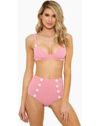 Lisa Marie Fernandez - Magdalena Button Bikini Top - Baby Pink - Lyst