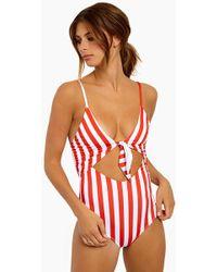 Beach Riot - Karissa Front Tie One Piece - Red/white Stripe - Lyst