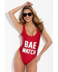 Private Party - Bae Watch One Piece Swimsuit - Red And White - Lyst